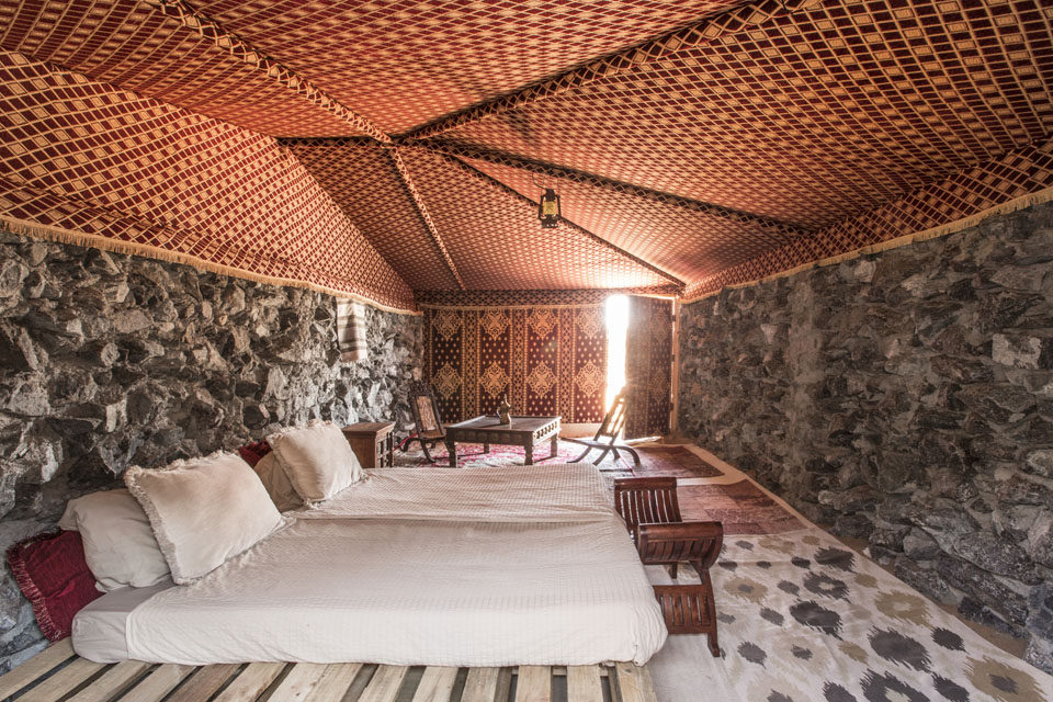 Spend the night in comfort in a traditional stone Bedouin dwelling