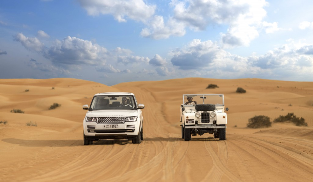 Before and After. Series 1 Land Rover and Range Rover explore the Dubai desert side-by-side