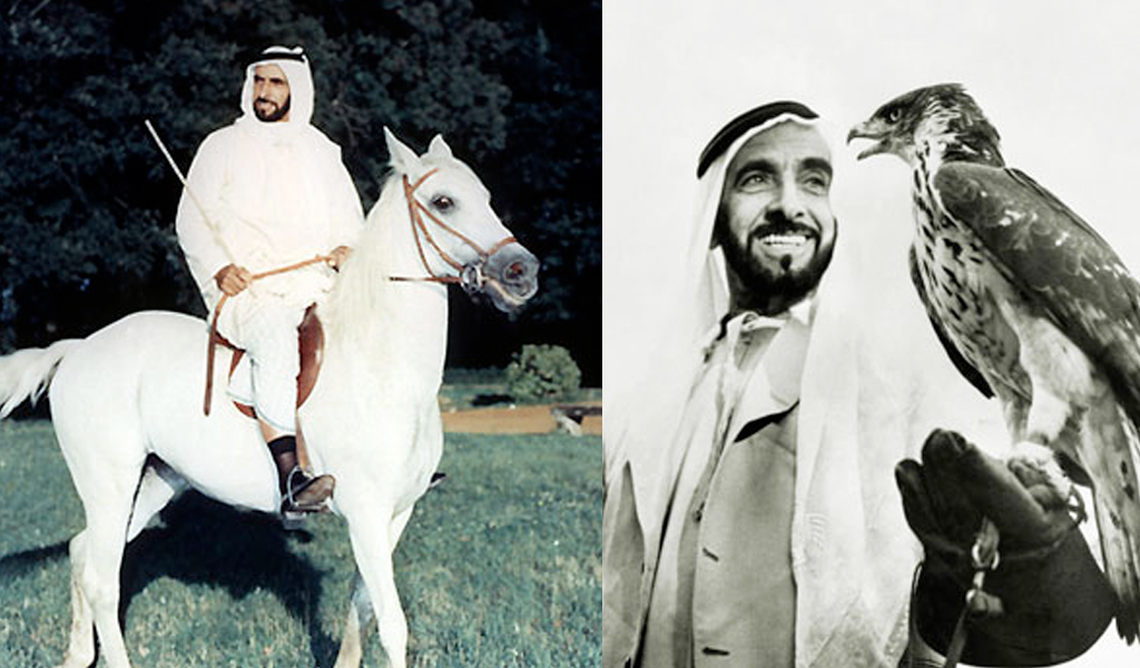 sheikh-zayed-with-horse-falcon