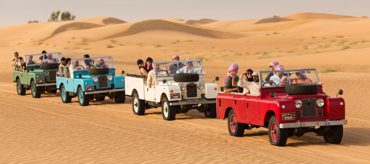 Vintage Land Rover Desert Safari Dubai