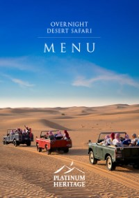 Over night desert safari food menu