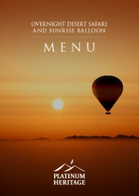 Overnight desert safari and sunrise balloon food menu